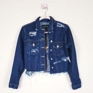 Distressed Crop Denim Jacket | Size Small